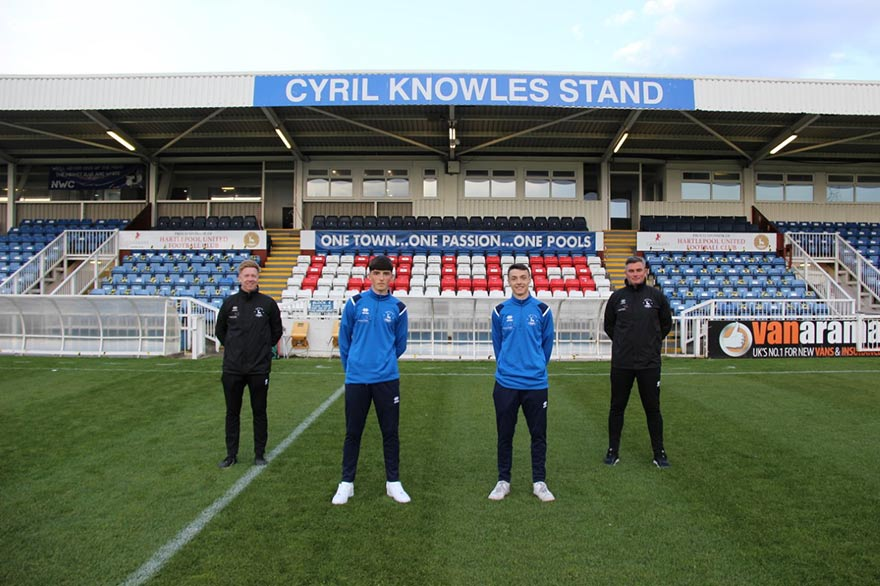 Hartlepool United Youth team players Josh Daley and Thomas Lea are flanked by ex-Pools players Ian Clark and Ian McGuckin, who are now leading the programme at the Hartlepool College of FE. Picture courtesy of Hartlepool United