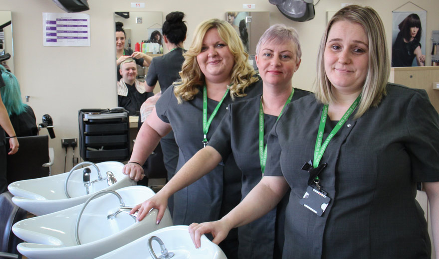 Heather, Fay and Samantha ~ Hairdressing Students