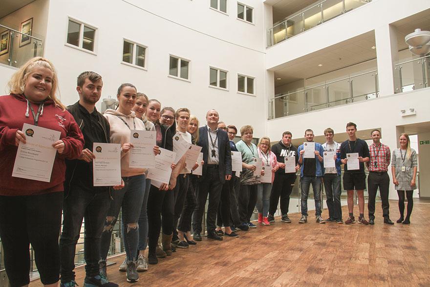 HCFE Student Ambassadors with IAG Staff at Hartlepool College