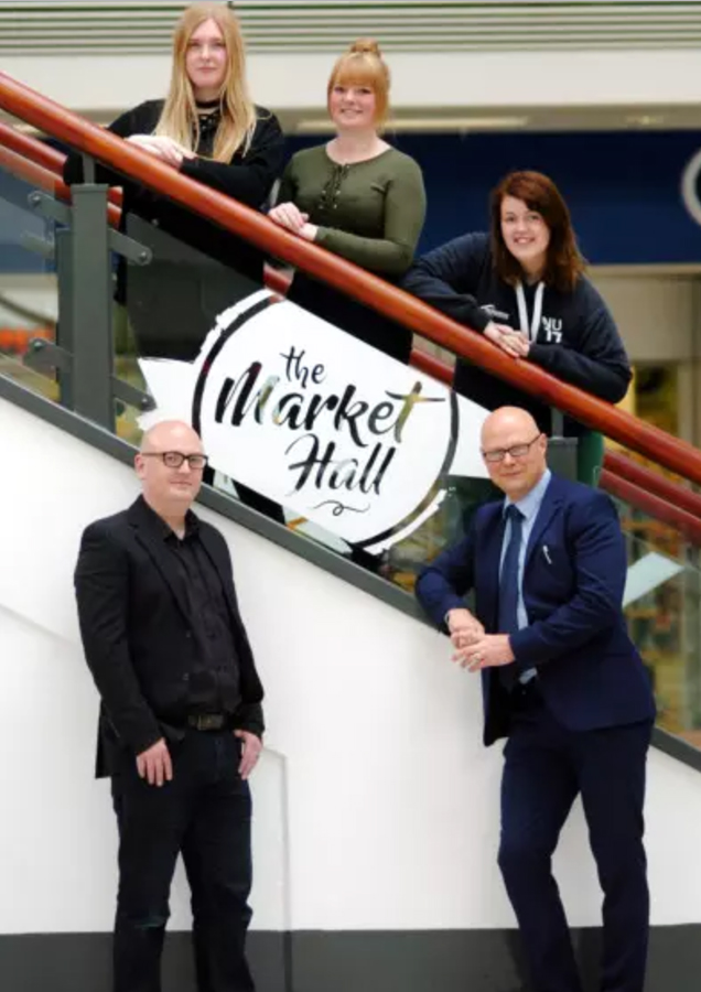 Hartlepool College of Further Education students, from left to right, Ashleigh Humble, Robyn Hart and Danielle O'Neill with Hartlepool College of Further Education Art and Design lecturer Michael Thompson and Middleton Grange Shopping Centre manager Mark Rycraft, centre.