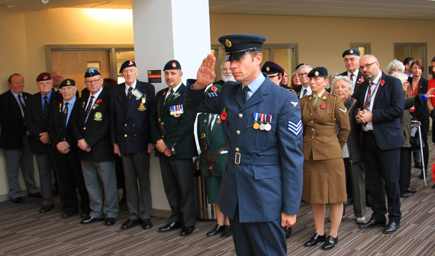 Standard bearers with members of the Allied Forces and College dignitaries at our Tree of  Remembrance